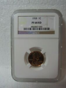 PF68 RD 1958 Lincoln Wheat Ears Reverse $1c - Graded NGC