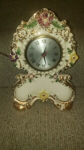 """Vintage Sessions Ceramic Hand Painted Electric Mantle Clock 10½"""" Tested"""