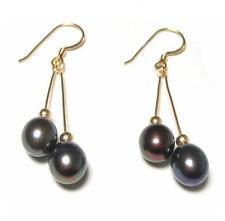 Genuine AAA Black Pearl 14K Gold Filled Double Dangle Hook Earrings