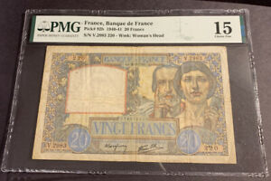 PMG Graded France, Banque de France 20 Francs 1940-41 p92b