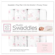Swaddle Designs Muslin Swaddle Blanket - 4pk Butterflies and Posies Pastel Pink