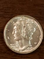 1943 D BU+++ Silver Mercury Dime