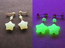 White Opalescent Vaseline Glass STAR shaped bead 14kt. gold filled Earrings