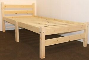 Pine Wooden Bed Frame Base & Slats SINGLE 3ft Heavy Duty Adult Weight Solid
