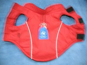 Gooby Sports Dog Vest - M, Fleece Lined with D Ring for Leash, Red with Black