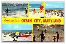 Greetings from Ocean City, Maryland postcard MD circa 1960s / 1970s beach views
