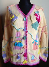 Tassel Theme STORYBOOK KNITS Crocheted Cardigan Sweater M Knitted Bright HTF New