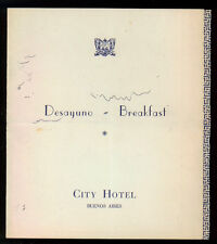 CITY HOTEL BUENOS AIRES MENU' DESAYUNO BREAKFAST ANNI '50 ARGENTINA