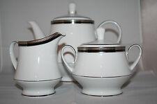 Noritake Toorak Noir Tea Pot Sugar Bowl Creamer Set M/218 Sri Lanka  Japan