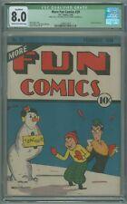 More Fun Comics # 29 CGC Qualified 8.0 VF Jerry Siegel 1938 Scarce