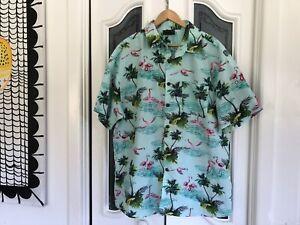 Men's Hawaiian Shirt Lowes Size 2XL Mint & Pink Flamingo Print