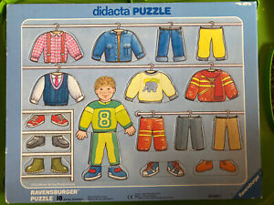 VTG 1989 Ravensburger didacta Puzzle Tray Boys Clothes Closet 18 Pieces Ages 3+
