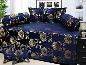 DiwanSet of 8pc Madeby Shiny Color 1bedsheet 2Bolster and 5CushionCover DeepNavy