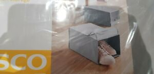 2 x Grey Fabric Shoe Storage Box 22x34x16 cm NEW Foldable -Tesco Home range NWT