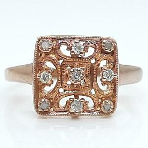 Genuine .15ctw H-SI Diamond 14K Rose Gold 925 Sterling Silver Ring Size 7