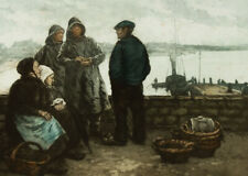 Manuel Robbe (1872-1936) - French Aquatint, Fishermen at a Harbour