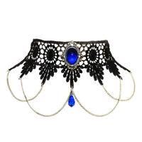 Sapphire blue gothic lace choker necklace goth victorian steampunk SINISTRA