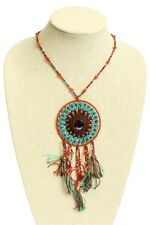 "Glass Crystal Artisan Beads 24"" Ne201 Red Turquoise Dreamcatcher Necklace Glitzy"