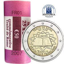 25 x  Frankreich 2 Euro Gedenkmünzen 2007 bfr. Römische Verträge in Rolle