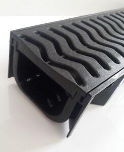Black Shallow Drainage Plastic Channel 1m Endcap Body Outlet Quad Box Drain