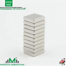 "10-count neodymium N40 NdFeb block magnets 1/2  x 1/2 x 1/8"" (true N40)"