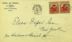 HAITI 1896 5c PAIR ON COVER FROM PORT-AU-PRINCE TO NEW YORK USA