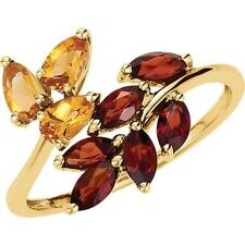 14k Yellow Gold Mozambique Garnet and Citrine Bypass Leaf Ring Size 8
