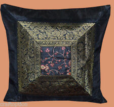 Black silk embroidered flower pattern hand made brocade border pillow cover!