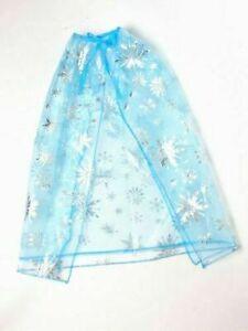 Children's Elsa Ice Blue double layered net cape metallic silver snowflake.  UK