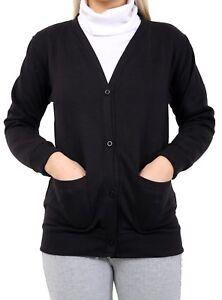 Girls Kids School Fleece Button Cardigans jumper Sweatshirt Tops Pockets Shirt