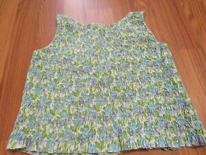 GAP. GIRL'S Blue/Olive Green Cotton Smocked Sleeveless Top, Button Back, Sz 7/8