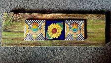 Talavera Sunflower Barnwood Handmade Sign  Ceramic