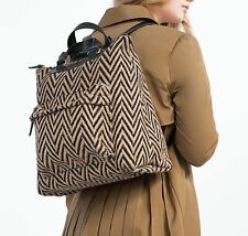 ZARA two tone backpack Jute Cotton School Laptop Natural Beige Bag Big 4585/104