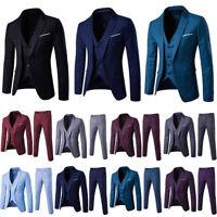 3PCS Mens Formal Groom Wedding Suit Set Slim Fit Trendy Tuxedo Jacket+Vest+Pants