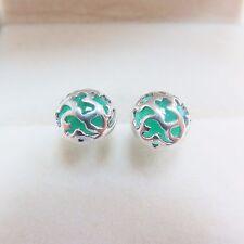 Sterling Silver Earrings & Green Jade With Heart Stud