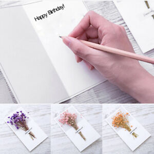 Cute Dried Flowers Greeting Cards Xmas Birthday Wedding Party Invitation Cards