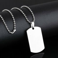 Stainless Steel Men Army ID Dog Tag Military Pendant Chain Silver Vouge Necklace