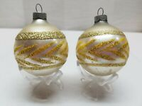 Vintage Glass Christmas Tree Ornament Bauble Ball Gold Silver Glitter Stencil
