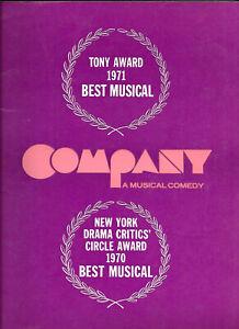 COMPANY Sondheim Broadway Program 1971 Larry Kert Jane Russell (B'dway debut)
