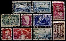 L'ANNÉE 1935 Complète, Oblitérés = Cote 92 € / Lot Timbres France 299 à 308