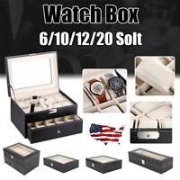 US Women Men Watch Box Leather Display Case Organizer Glass Jewelry Storage Gift