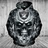 Las Vegas Raiders Hoodie 3D Skull Sweatshirt Zip Up, Pullover