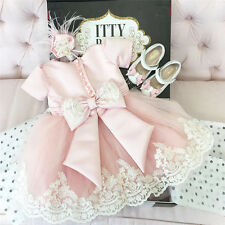 Lovely Baby Girl Christening Flower Party Baptism Occasion Dresses Gown Headwear