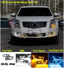 Fog Light& 3 Color LED DRL Wiring Turn Signa Lamp Kit For Cadillac SRX 2010-2016