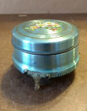 Vintage Blue 3 footed Aluminum Powder Puff Tin w/Flowers on Lid