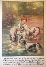 Boy In Creek With English Setters Pups by C M Burd Authentic Vintage Print 1928