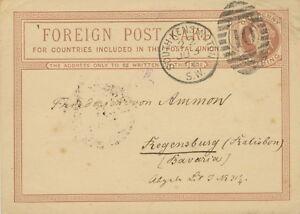 GB 1876 QV 11/4d brown VF foreign postcard Duplex SOUTH-KENSINGTON / S.W. / 10