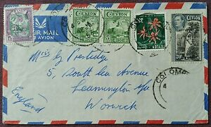 Colombo, Ceylon Airmail Cover to UK 1956, Good Selection of Stamps