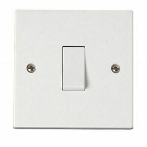 Light Switch Single White Plastic with Fixing Screws 1 Gang 2 way 1G 10AX
