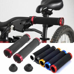 2Pcs Double Lock On Locking Handlebar Grips Cycle Bicycle MTB Mountain Bike BMX